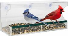 Large Acrylic Window Bird Feeder w/Removable Tray Suction Cups & Drain Holes