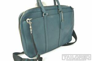 NEW - COACH Soft Teal Blue Pebble Grain Shoulder Briefcase Laptop Bag
