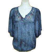 Live Let Live Blue Boho Tunic Blouse 3/4 Bat Wing Sleeve Embroidered Floral Med