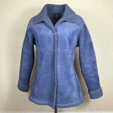 Laura Ashley Vintage Faux Sheepskin Coat Jacket Size M 12 UK Blue *Hardly Worn*