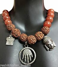 Rose Cut Diamond  Buddha Head,Hand of God,Carnelian & Rudarkhsha Beads Necklace