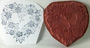 "PSX Rubber Stamp Unmounted Valentine Heart Shaped Wreath Flower 1.5"""