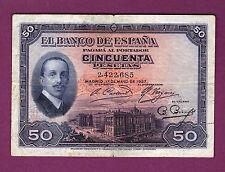SELLO SECO DE BURGOS, 50 PESETAS 1927 SIN TAMPON