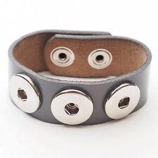 NEU Lederarmband grau DRUCKKNOPF ARMBAND Echt Leder HERREN Button Bracelet