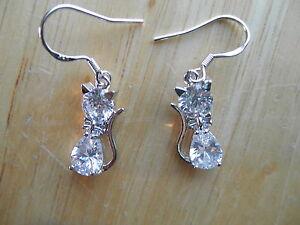 Costume Jewel Diamond Glass Rhinestone EARRINGS Pierced CAT FELINE Sitting NICE