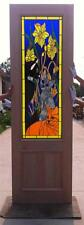 CUSTOM DESIGN HAND MADE MAHOGANY WOOD STAINED GLASS CAT ENTRY DOOR - JH364