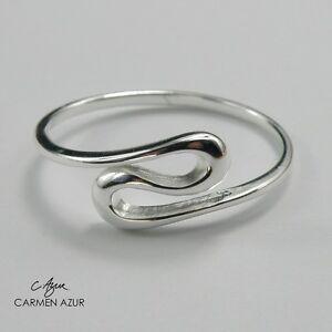 925 Sterling Silver Ring Wave Size J,J1/2,L,L1/2,N,N1/2,M,O,P1/2 New + Gift Bag