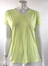 Danskin Womens Top Sz Large Neon Yellow V Neck Semi Fitted Athletic Gym Workout