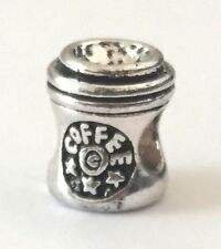 Coffee Cup Charm Bead For Bracelets Silver Plated