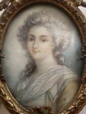 Fine Antique French Miniature Portrait Lady w/Gold Gilt Dore Bronze Easel Frame