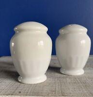 Martha Stewart • MSE • Embossed White China • Salt & Pepper Shaker Set