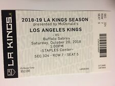 LOS ANGELES KINGS VS BUFFALO SABRES OCTOBER 20, 2018 TICKET STUB