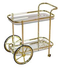 Vintage Tea Trolley Side Table Furniture Metal Gold Shelves Glass Drinks Storage