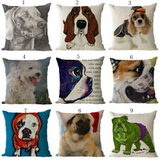 Hand-painted Dog Print Linen Pillow Case Cushion Cover New