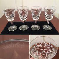 Set of 4 Vtg WATERFORD CRYSTAL Ashling Pattern 4 oz Claret Sherry Wine Glasses