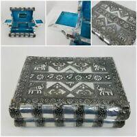 Vintage India Hindu Silver Tin Metal Jewelry Box Book Trinket Holder Elephants