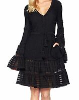 $590 Jonathan Simkhai Women's Black Knit Combo Swimsuit Cover-Up Dress Size L
