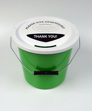 3 Charity Fundraising Money Collection Buckets with Lids, Labels and Ties -Green
