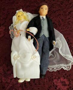 Vintage German Ermey Flexible Dollhouse Bride And Groom Dolls