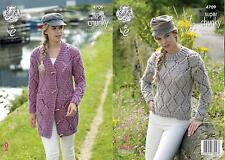 King Cole 4709 Knitting Pattern Jacket and Sweater in Big Value Super Chunky