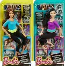 2 Barbie Made to Move Dolls Blue Purple Top DPP74 DHL84