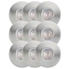 9er Set LED Einbaustrahler 4,4W Einbauleuchte Feuchtraum IP65 Warmweiß Nickel