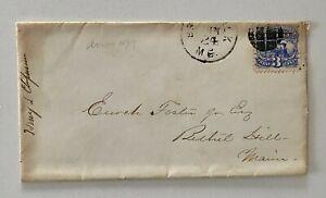 1860s Fancy Cancel 3c Blue Brunswick ME to Bechtel Hill Maine