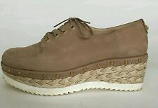 "STUART WEITZMAN Tan Suede Lace Up 2"" Wedge Heel EU 37 UK 4"