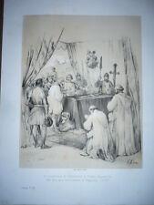 GRAVURE 19° SIÈCLE LE GOUVERNEUR DE CHÂTEAUNEUF SUR TOMBEAU DE DUGUESCLIN 1380
