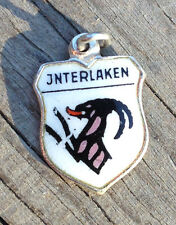 Vintage enamel INTERLAKEN Germany silver travel bracelet souvenir shield charm
