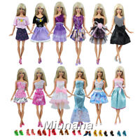 Miunana 12 Dresses Skirts Fashion Clothes + 10 PCS Shoes For Barbie Dolls