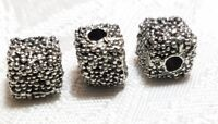 GRANULATED TEXTURED FINE PEWTER BEAD - 7x7x7mm HOLE 2mm
