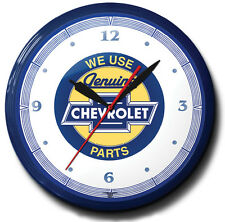 Chevrolet Parts Neon Wall Clock Hand Made In The USA 20 Inch Diameter