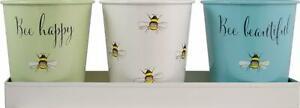 English Tableware Bee Happy Enamel Plant Herb Pots & Tray [3452H] END OF LINE