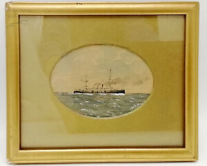 Antique Early 20th Miniature Watercolour of WWI Naval Cruiser, Framed Painting