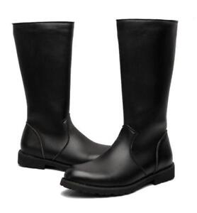 2020 Mens Leather Mid calf Knee High Riding Equestrain Boots Shoes chic UK Size