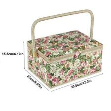 Fabric Floral Printed Sewing Basket Craft Box Household Sundry Storage Organizer