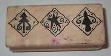 Trees Star Rubber Stamp Christmas Wood Mounted Triangles Magenta Brand