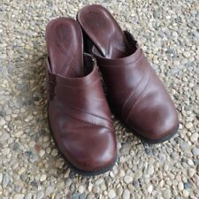 Clarks Brown Leather Slip On Heels Size 6.5