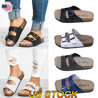 Women's Summer Sandals Shoes Slippers Flip Flops Flat Buckle Slip On Strappy US