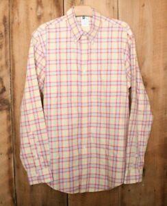 BROOKS BROTHERS Yellow, Orange & Blue Plaid Slim Fit Button-Up Dress Shirt Sz. L