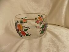 Clear Crystal Romania Bowl Painted Fruit Gold Rim
