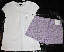 NWT Gap Kids Made For Sun White Swing Top Shirt Purple Floral Shorts XL 12 Yrs.