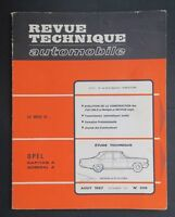 REVUE TECHNIQUE AUTOMOBILE RTA OPEL KAPITAN ADMIRAL FIAT 600 n°256
