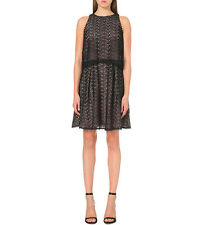 REISS REMI LAYERED LACE CROCHET BLACK SLEEVELESS LINED MINI DRESS UK 6 BNWT