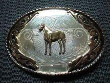 STERLING SILVER HORSE BELT BUCKLE! VINTAGE! IRVINE & JACHENS! RARE! 1960s! 75g!