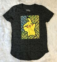 "Pokémon Short Sleeve Shirt Gray ""Pikachu"" Graphic Top Size: Large 10/12"