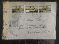 1945 Basel Switzerland censored cover to General Milk Products London England 1