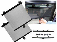 2x Black Retractable Sun Shade Roller Car Curtain Window Shade UV Cut / Pro W2D2
