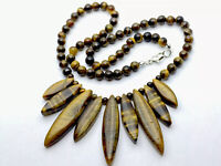 VINTAGE Heavy Tigers Eye Agate Cleopatra Style NECKLACE 19 INCHES 58g GIFT BOXED